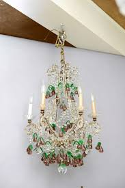 chandelier in the italian maria theresa style having a cage form frame of