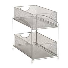 Tiered Shelves For Cabinets Org 2 Tier Mesh Double Sliding Cabinet Basket In Silver Bathroom