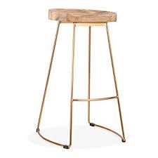 wood metal bar stools. Cult Living Victoria Metal Bar Stool, Solid Elm Wood, Brass 75cm Natural Wood Stools O
