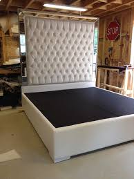 White Faux Leather King Size Platform Bed Queen Size Bed Tufted Upholstered  Bed Platform Bed with Mirrors Headboard Extra Tall Headboard