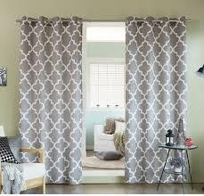 girls sage grey moroccan window curtain 84 inch pair panel set light gray color geometric trellis