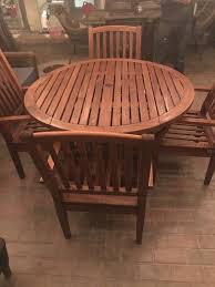 weather master teak wood round table 4 chairs for in chicago