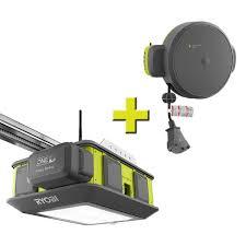 ryobi ultra quiet 2 hp belt drive garage door opener with retractable cord reel accessory