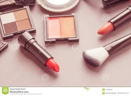 set of makeup cosmetics s with bag on top view vine s