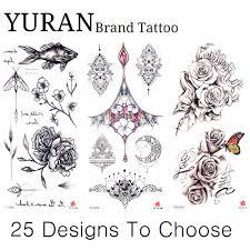 19x9 см карандаш эскиз рисунок временная татуировка из хны черные сексуальные розы