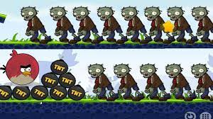 Angry Birds Fry Zombies - TERENCE BIRD KICKING TNT BOMB TO DEFEAT ZOMBIES!  - YouTube