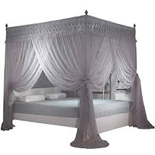 Amazon.com: Nattey Gray 4 Post Bed Curtain Canopy Mosquito Netting ...