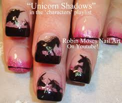 Unicorn Silhouette Nail Art---maybe some day I'll attempt this ...