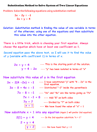 substitution method can be bit harder once the equations have complex coefficients such as fractional coefficients then there is another method called