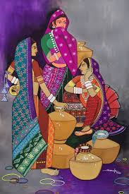 milk maids artwork number a famous painting by an indian artist mohan ck indian art ideas offer contemporary and modern art at reasonable