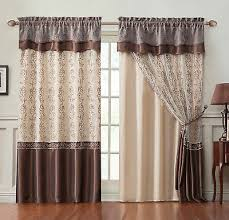 Home & Garden Sheer Grommet Window Curtain Panel Pair Green Beige Brown  Flower Design 84in L Curtains, Drapes & Valances adsmoh.org.ng