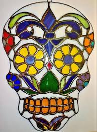 fleur de lis sugar skull fragile beauty stained glass