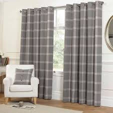 Plaid Curtains For Living Room Highland Tartan Plaid Check Curtains With Ring Top Eyelets In Grey