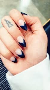 French Tip Stiletto Nail Designs Dark Blue Triangle French Tip Stiletto Almond Nails French