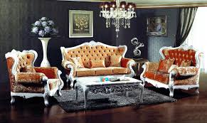 french style orange color fabric sofa sets living antique looking furniture cheap