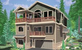 sloping lot house plans hillside daylight basements lake home with walkout basement view plan vacation render