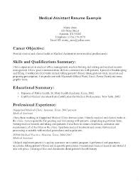 Medical Assistant Resumes Examples Best Example Objectives For Medical Assistant Resumes Examples Of A