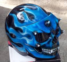 custom motorcycle helmet skull blue fire skeleton death ghost