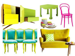 Neon Furniture Collage from Liv Chic - Love the classic chairs with the  bright updated lime
