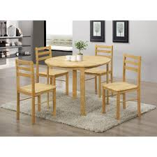 york round wooden dining table set with four chairs natural oak finish