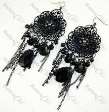 lace long gothic chandelier earrings victorian goth vintage style dp