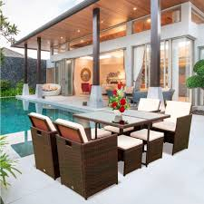 9 pieces outdoor patio dining sets