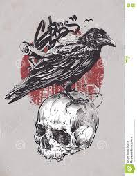 тату ворон и череп тату ворон вызывает восторг и страх ворон