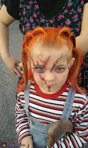 my daughters makeup up close broken doll and chucky doll costume