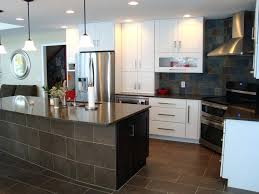slate backsplash tile kitchen contemporary with glass doors glossy installation