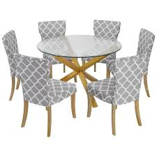 dining room sets co uk. solid oak \u0026 glass round dining table and chair set with 6 grey fabric seats \u2014 room sets co uk