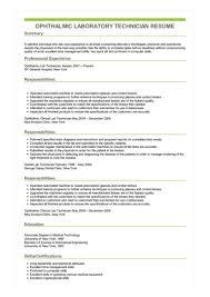 Sample Ophthalmic Laboratory Technician Resume