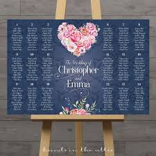 Navy With Pink Flowers Seating Chart