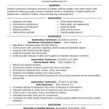 Resume Template Automotive Technician Professional Resume Templates