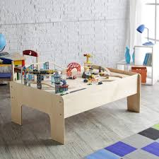 furniture modern round shape kids play table with red bench seat and storage idea spacious