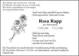 Traueranzeigen von Rosa Rapp | Schwarzwälder Bote Trauer