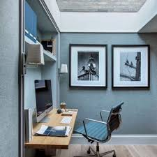 design for office. Example Of A Small Minimalist Built-in Desk Light Wood Floor And Beige  Home Design For Office