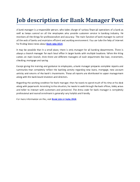 Bank Manager Job Description Bank Jobs 2014 By Hilljason Issuu