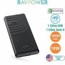 Pin Sạc Dự Phòng RAVPower 10000mAh In/Out Type-C PD 18W, Quick Charge 3.0 -  RP-PB195 - Hàng Chính Hãng