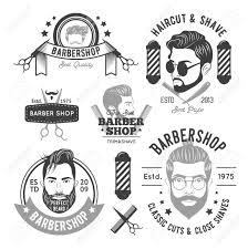 Herenkapper Zwart Wit Emblemen Met Verschillende Mannen Baarden Kapsels En Kapper Accessoires Geïsoleerde Vectorillustratie