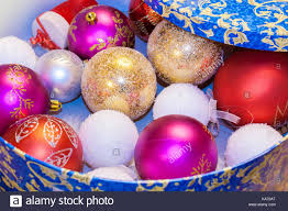 Christmas Toys Red Pink Factured White Textured Golden Balls Are