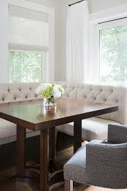 Ivory Linen Tufted Dining Banquette with Square Dining Table