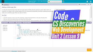 Multi-Page Websites Lesson 9.3 Tutorial with Answers - Code.org Web ...