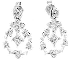 14k white gold chandelier diamond earrings 1 5 ct t w