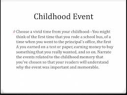 personal narrative topics and requirements being unprepared  4 childhood event