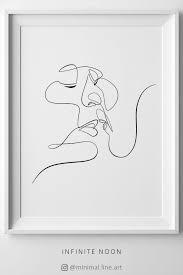 Abstract Love Line Art Couple Kiss Wall Art Line Drawing Minimal