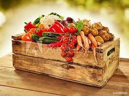 photo art print wooden crate filled with farm fresh vegetables europosters