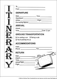 Itinerary Sheet Itinerary Fax Cover Sheet