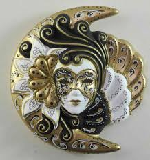 Decorative Venetian Wall Masks decorative wall mask Moon and Sun Sblack and white golden 79