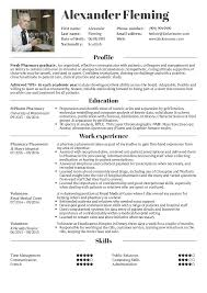 011 Curriculum Vitae Pharmacist Sample Template Wonderful