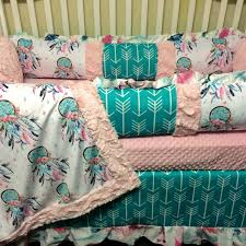 Dream Catcher Crib Bedding Dream catcher and Arrows Custom Baby Bedding with pink and teal 8